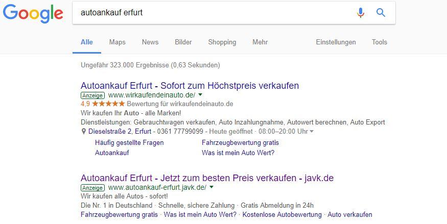 Auszug der Google-Suche. Hier findet man zu nahezu jedem Gesuche immer die Anzeige von WKDA